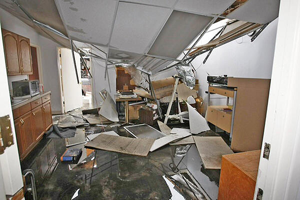 collapsed room